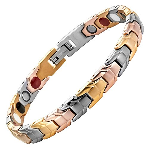 - Willis Judd Womens Tri Colour Gold Four Element Magnetic Titanium Bracelet + Free Link Removal Tool By