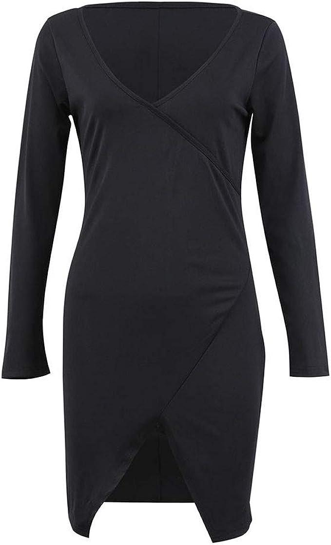 Moudozsdi Womens Casual Long Sleeve Deep V Neck Cocktail Party Slim Pencil Dress