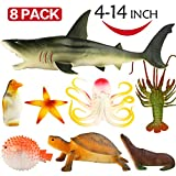 Ocean Sea Animal, 4-14 Inch Large Vinyl Plastic Animal Toy Set(8 Pack), Funcorn Toys Realistic Under The Sea Life Figure Bath Toy for Child Toddler Educational Party Favors ,Octopus Shark Turtle