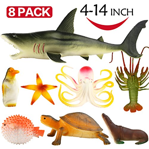Funcorn Toys Ocean Sea Animal, 4-14 Inch Large Vinyl Plastic Animal Toy Set(8 Pack), Funcorn Toys Realistic Under The Sea Life Figure Bath Toy for Child Toddler Educational Party Favors ,Octopus Shark Turtle price tips cheap