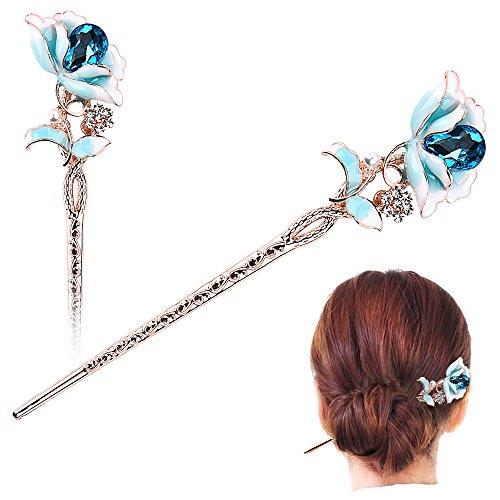 STAR-TOP Chinese Hair Chopsticks Hair Decor Crystal Rhinestone Hair Pins Flower Hair Clip Metal Hair Stick with Jewelly - Star Pin Crystal