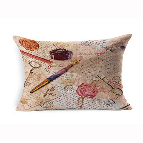 Ahawoso Linen Throw Pillow Cover Queen 20x30 Watercolor Book Page Vintage Aged Hand Written Notes Accessories Education Color Ink Colour Drawing Handwriting Pillowcase Home Decor Cushion Pillow Case (Post Bed Pencil Queen)