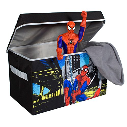 Spiderman Collapsible Kids Toy Storage Chest by Marvel - Flip-Top Toy Organizer Bin for Closets, Kids Bedroom, Boys & Girls Toys - Foldable Toy Basket Organizer with Strong Handles & Design by Everything Mary