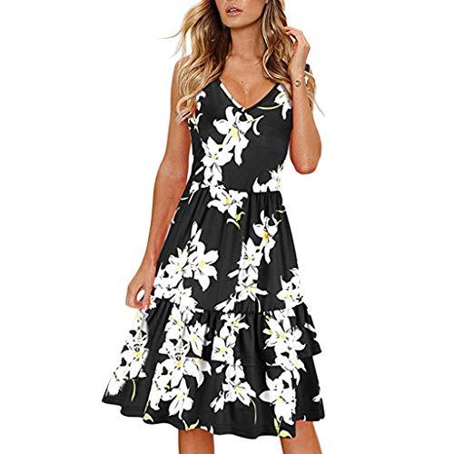 (Sherostore ♡ Women's Summer Casual Sleeveless Floral Printed Swing Dress Sundress Pleated Skirt Short Dress Black)