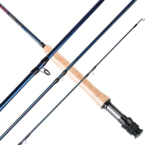 Sougayilang Fly Fishing Rod 4 Piece 9 Feet Graphite Carbon Fly Fishing Pole for Trout Salmon Carp...
