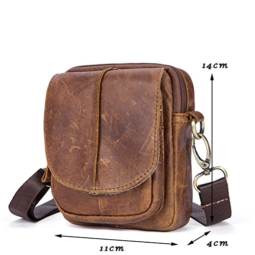 Zhhlinyuan Cowhide Mobile Women Black Zipper Mens Soft suave Pouch Bag First Small Unisex Phone Shoulder Belt Adjustable Leather Crossbody z6rqzwE