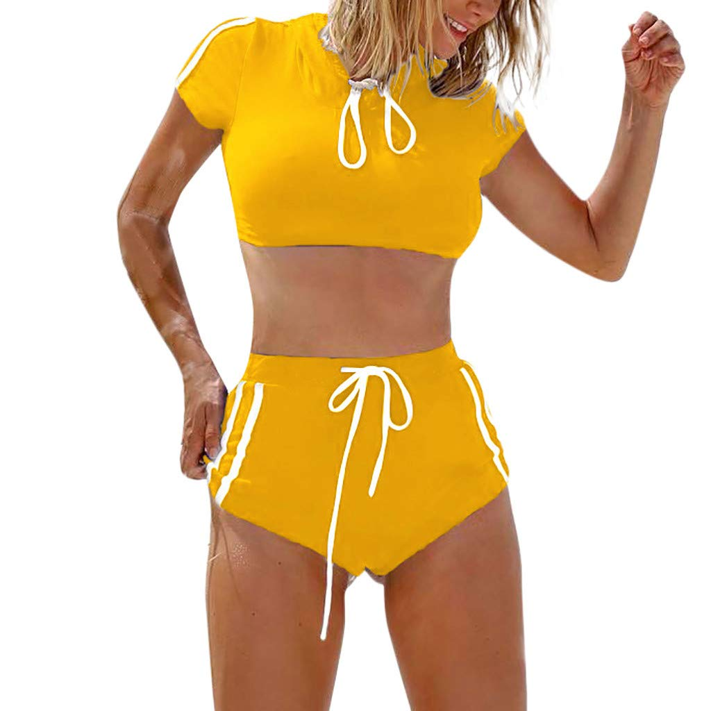 MRULIC Frauen Taillierte Badeanzug Split Damen Bademode Set Bikini Bikini Sets Damen Sexy Bademode Push Up Bikinis Badeanzug Zweiteiler Strand Swimwear Swimsuits Beachwear