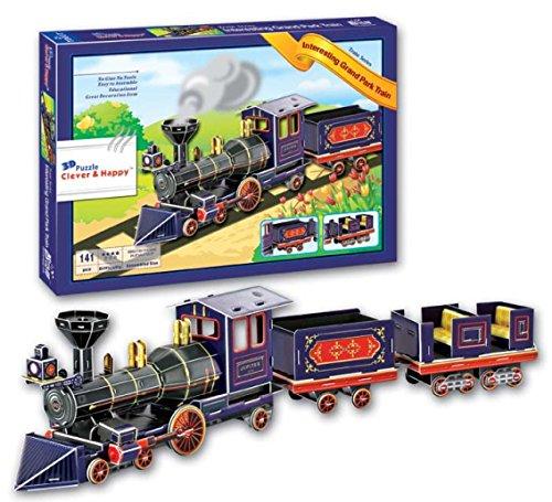 Top Race 3D Puzzle, Christmas Train, Railroad Train Puzzle, No Glue, No Scissors, Easy to Assemble. (141 Pieces)