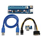 Onvian Mining Dedicated Graphics Card PCI-E 1X to 16X Riser Card 164P with 6 Pin to SATA Power Supply USB 3.0 Cable