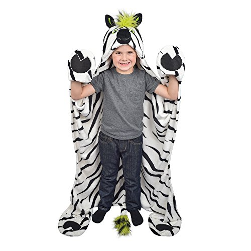 Fin Fun Striker Zebra Wearable Hooded Blanket by Wild Things]()