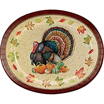 Thanksgiving Splendor 12 Inch Oval Paper Plates 8 Pack Party Decorations