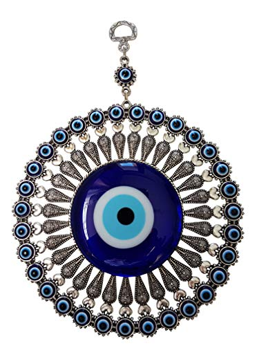 Turkish Evil Eye Protection - Bead Global Turkish Big Glass Turkish Evil Eye Bead Home Protection Charm-Hanging Ornament Wall Decor (Blue)