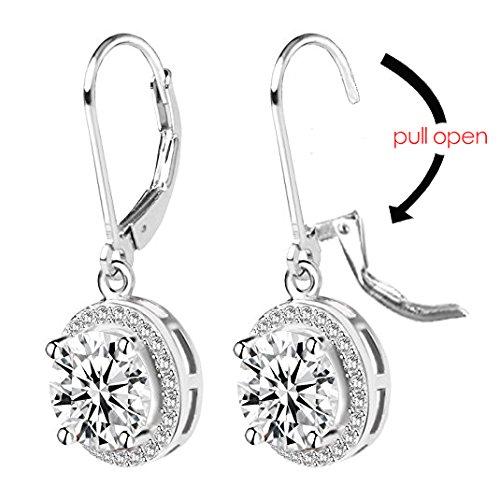 Jane Stone Sterling Silver Earrings Cubic Zirconia Halo Earrings Leverback Earrings Round Rhinestone Dangle Earrings Wedding Jewelry for Women Bridal by Jane Stone (Image #6)