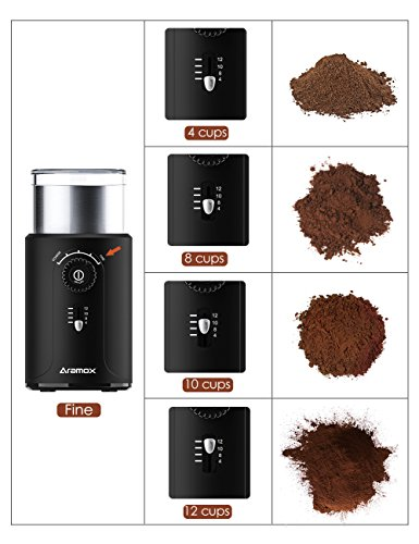 Electric Coffee Bean Grinder with Stainless Steel Blades,Grind Size and Cup Selection, 2.5-Ounce, Black by Aramox (Image #4)