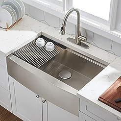 Farmhouse Kitchen Farmhouse Sink,33 Inch Kitchen Sink,Stainless Steel Farm Sink,Large Single Bowl Farmer Sink,Workstation Apron Front… farmhouse kitchen sinks