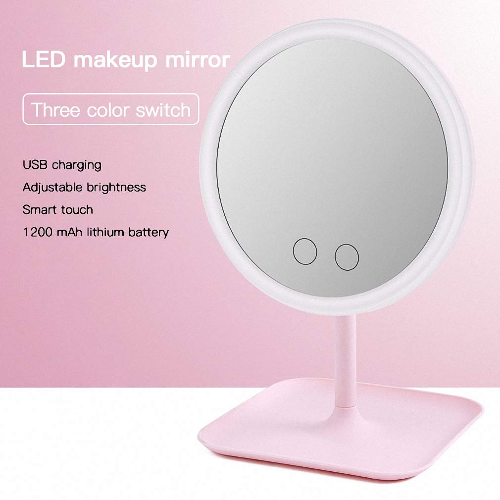 REKY Makeup Mirror with Lights Detachable 10x Magnification 3 Color Lights Vanity Mirror 180/° Rotation Touch Screen Adjustable Brightness Lighted Mirror Dimmable LED Light Up Mirror