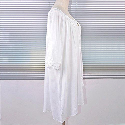 pour Decha Chemsier Blouse Cover Lache Femme Vacances Bain Plage Tunique t Piscine Blanc de Up Dcontract en Maillot de Bikini Robe 7qrWw7vT