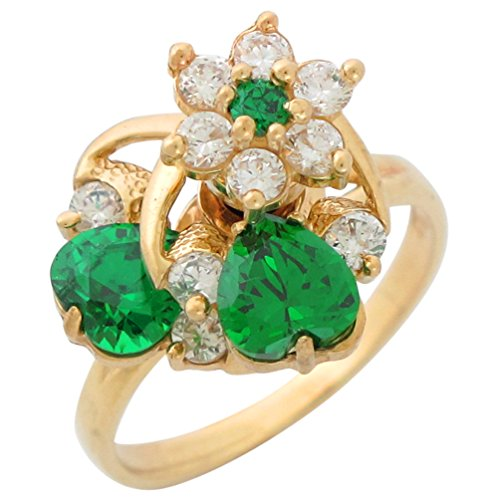 14k Yellow Gold Motion Spinning Simulated Emerald Heart White CZ Ladies Floral Ring - Yellow Gold Spinning Ring