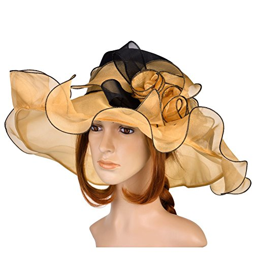 Womens Fashion Derby (Vbiger Kentucky Derby Hats Church Hat Organza Tea Party Wedding Hat (Yellow))