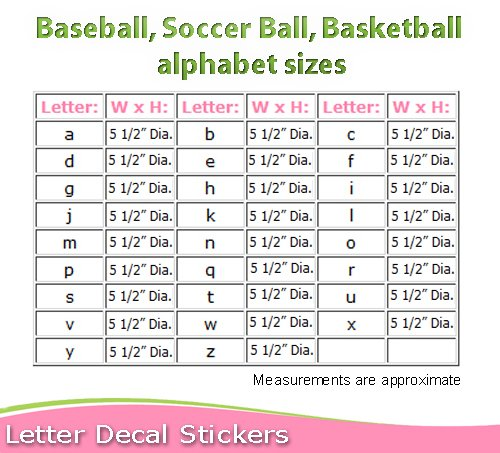 amazoncom wall letters a baseball letter stickers alphabet initial vinyl sticker kids decals children room decor baby nursery boys bedroom decorations