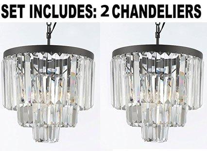 Three Light Two Tier (Set of 2 Chandeliers - Odeon Empress Crystal (tm) Glass Fringe 3-tier Chandelier Chandeliers Lighting Mini Pendant)