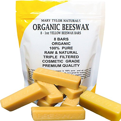 100% Organic Hand Poured Beeswax- 8 x 1 oz Bars Premium Quality, Cosmetic Grade, Triple Filtered Bees Wax (8 Bars