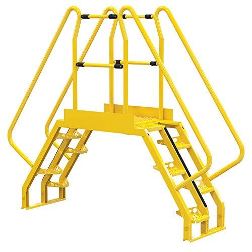 """Vestil COLA-3-56-32 Yellow Alternating Cross-Over Ladder, 97"""" x 81"""", 10, 350 lb. Capacity"""