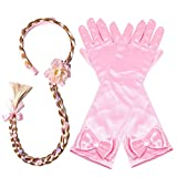 Yosbabe Princess Girls Rapunzel Long Hair Wig with Braid Gloves Dress up Accessories (Pink)