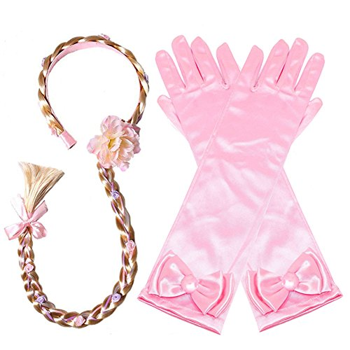 Yosbabe Princess Girls Rapunzel Long Hair Wig with Braid Gloves Dress up Accessories (Pink) by Yosbabe