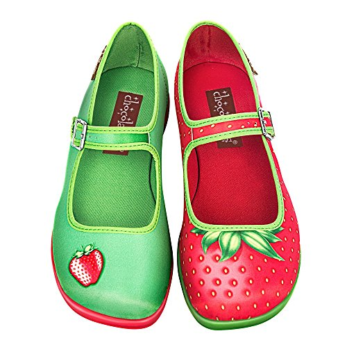 Hot Chocolate Design Chocolaticas Strawberry Women's Mary Jane Flat Multicoloured HCD 39 by Hot Chocolate Design