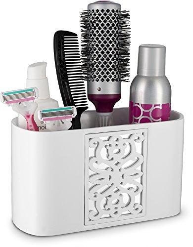 (DWELLZA Mirror Janette Bathroom Counter Organizer- Vanity Organizers- Countertop Cosmetic Makeup Brushes Caddy Hair Accessories Storage- 3-Compartments Decorative Bath Organization (White))
