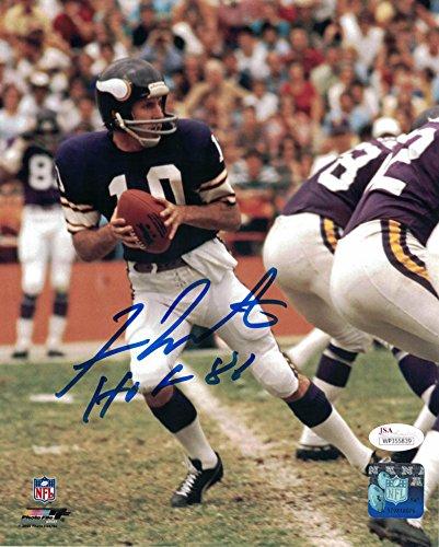 Fran Tarkenton Autographed/Signed Minnesota Vikings 8x10 Photo JSA