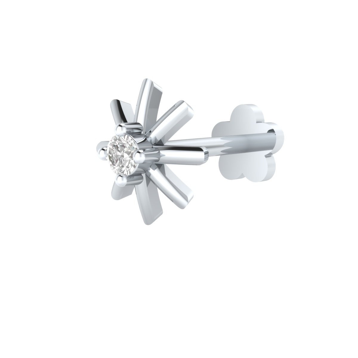 Animas Jewels DGLA Certified 14k White Gold Solitaire Stud Nose Pin for Women 0.015 Cttw Natural Diamond (G-H Color. SI Clarity) Round Cut 4-Prong-Setting. Available in 6 mm & 8 mm Length (8) by Animas Jewels