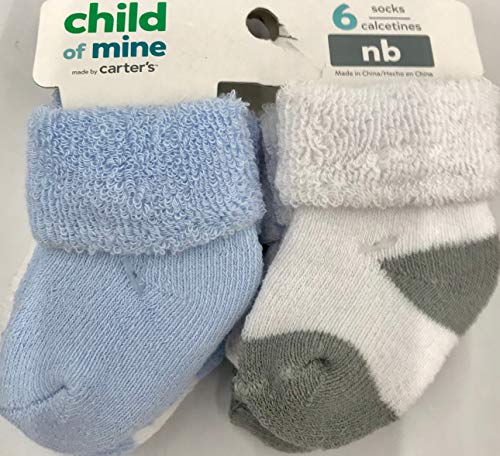 Child of Mine by Carters Baby Boy 6-Pack Terry Cuff Socks, Newborm