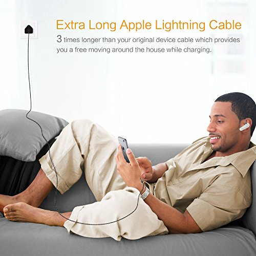 Kinps Apple MFi Certified Lightning to USB Cable 10ft/3m iPhone Charger Cord Super Long for iPhone X / 8 / 8 Plus / 7 / 7 Plus / 6S / 6S Plus / 6 / 6 Plus / SE, iPad Pro / Air / Mini (Nylon-Black) by Kinps (Image #6)