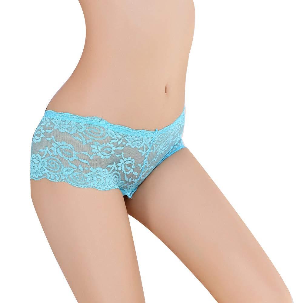 Women Thong Bragas Sexy Panties Thong Lace Word Pants Ladies Briefs (Free, Sky Blue)
