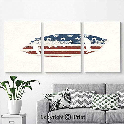 Modern Salon Theme Mural Grunge American Flag Themed Stitched Rugby Ball Vintage Design Football Theme Painting Canvas Wall Art for Home Decor 24x36inches 3pcs/Set, Cream Blue Red