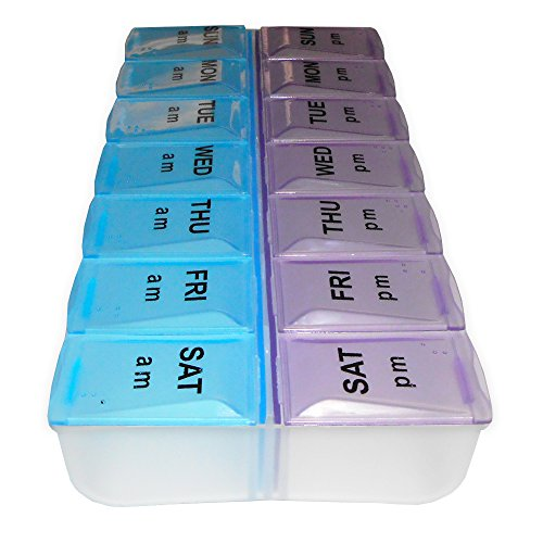 14 Day Pill Organizer (Rehabilitation Advantage Twice-A-Day Pill Organizer – 14 Compartment)