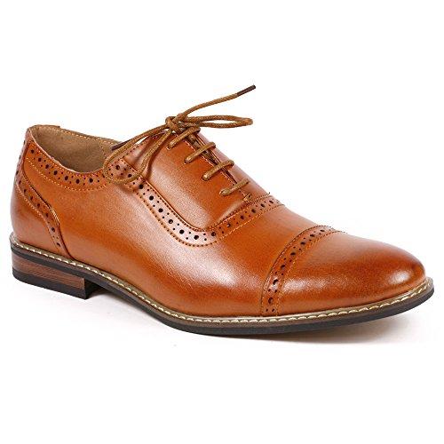 Faux Leather Shoes (Parrazo Men's Perforated Lace Up Cap Toe Oxford Dress Shoes (10.5, Cognac)