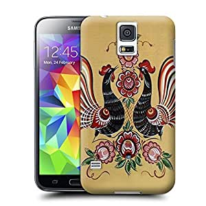 Unique Phone Case Floral pattern with two cocks Hard Cover for samsung galaxy s5 cases-buythecase by lolosakes