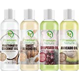 Carrier Oil Gift Set Coconut Oil - Grapeseed Oil - Avocado Oil & Sweet Almond Oil - Best Moisturizer for Skin & Hair - 100% Natural Pure Massage Oil 4 Piece Variety Pack 4 fl oz Each Premium Nature