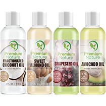 Carrier Oil Gift Set Coconut Oil - Grapeseed Oil - Avocado Oil & Sweet Almond Oil - Best Moisturizer for Skin & Hair - 100% Natural Pure Massage Oil 4 Piece Variety Pack 4 fl oz Each PremiumNature