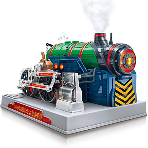 Playz Train Steam Engine Model Kit to Build for Kids with Real Steam, STEM Science Kits for Kids, Model Engine Kits for Adults and Educational Hobby Gift, Mini Engine Set, Engineering Toy Boys & Girls (Educational Train)