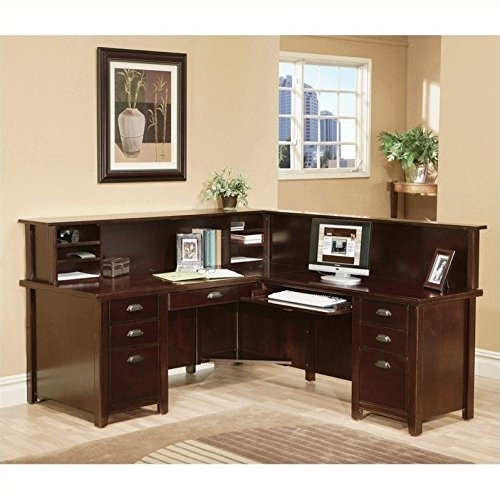 (Martin Tribeca Loft Cherry RHF L-Shaped Executive Desk with Reception Hutch)
