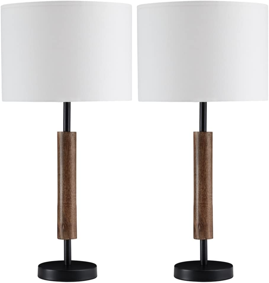 Ashley Furniture Signature Design - Maliny Wood Table Lamps - Set of 2 - Black & Brown