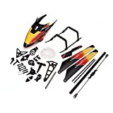 Replacement WLtoys V913 2.4GHz 4CH RC Helicopter Spare Parts Accessories Kit Set Canopy Blades Landing Skid Gear (Orange)