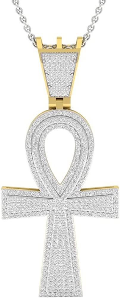 0.95 Carat (ctw) 10K Gold Round Diamond Ankh Mens Cross Pendant 1 CT (Silver Chain Included)
