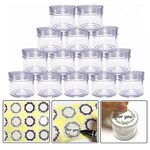 20gram/20ml Round Clear Empty Container Jars with Clear Screw Lids Bulk for Lotions, Lip Balm, Makeup Samples - BPA Free (24 Pack, Clear)