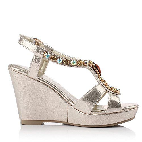 Amoonyfashion Mujeres High-heels Soft Material Solid Hebilla Peep-toe Sandalias Dorado