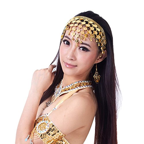 AvaCostume Belly Dance Headband Tribal Coined Headband Gypsy Jewelry, Gold,one size